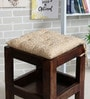 Beige Cotton 16 x 16 Inch Jharokha Jaali Chair Pad by House This