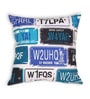 Blue Cotton 16 x 16 Inch Bike-Number Plates Cushion Cover by House This
