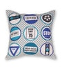 House This Blue Cotton 16 x 16 Inch Bike-Road Signs Cushion Cover