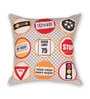 House This Red Cotton 16 x 16 Inch Bike-Road Signs Cushion Cover
