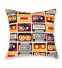 Red Cotton 16 x 16 Inch Gadgets-Retro Rewind Cushion Cover by House This