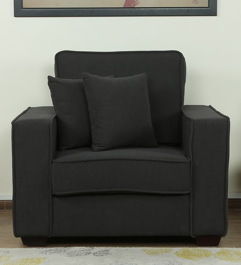 Hugo One Seater Sofa in Charcoal Grey Colour by CasaCraft