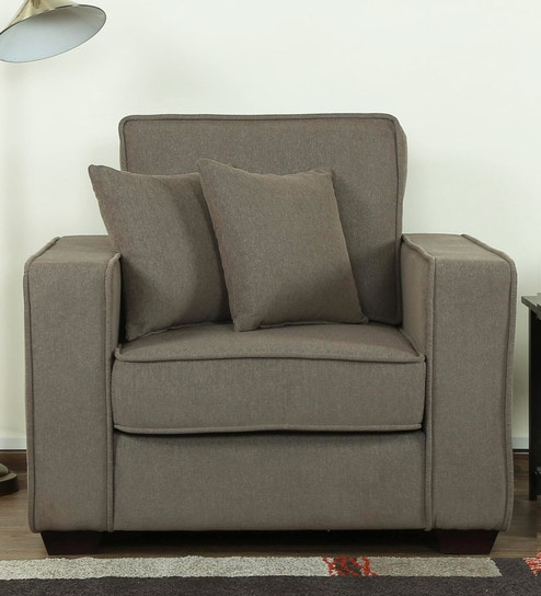 Hugo One Seater Sofa in Sandy Brown Colour by CasaCraft