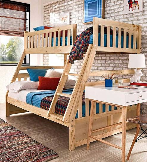 Hunter Twin Over Double Bunk Bed In Natural Pine By Urge