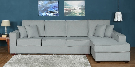 Hugo LHS Three Seater Sofa with Lounger and Cushions in Ash Grey Colour by CasaCraft
