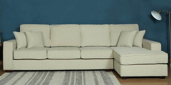 Hugo LHS Three Seater Sofa with Lounger and Cushions in Beige Colour by CasaCraft