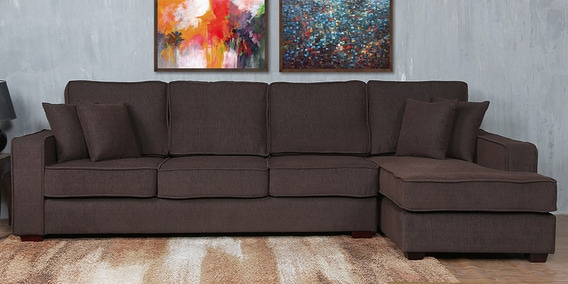 Hugo LHS Three Seater Sofa with Lounger and Cushions in Chestnut Brown Colour by CasaCraft
