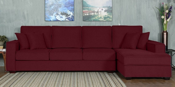 Hugo LHS Three Seater Sofa with Lounger and Cushions in Garnet Red Colour by CasaCraft