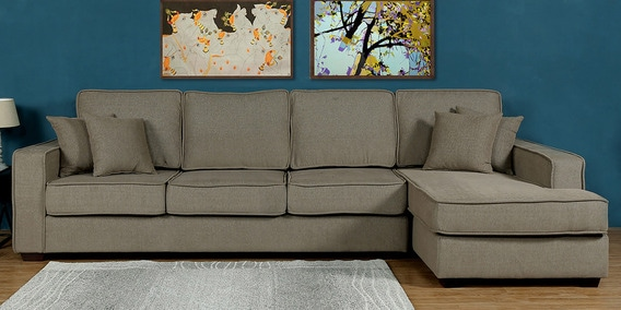 Buy Hugo LHS Three Seater Sofa With Lounger And Cushions In Sandy Brown Colour By CasaCraft