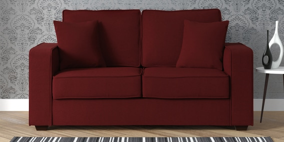Hugo 2 Seater Sofa In Garnet Red Colour By Casacraft