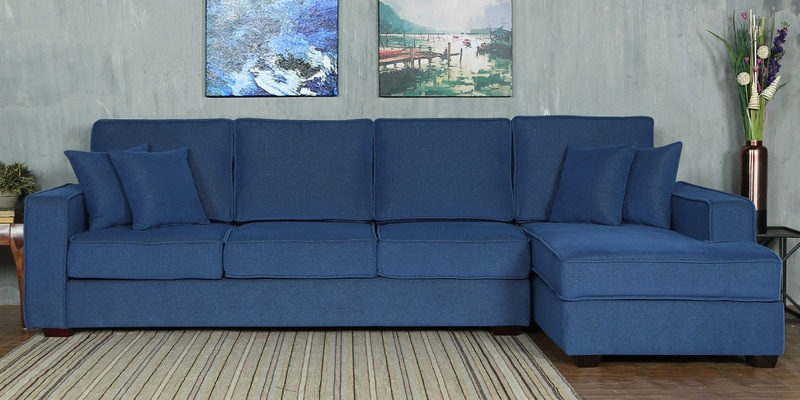 Hugo LHS Three Seater Sofa with Lounger and Cushions in Denim Blue Colour by CasaCraft