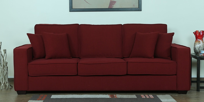 Hugo Three Seater Sofa in Garnet Red Colour by CasaCraft