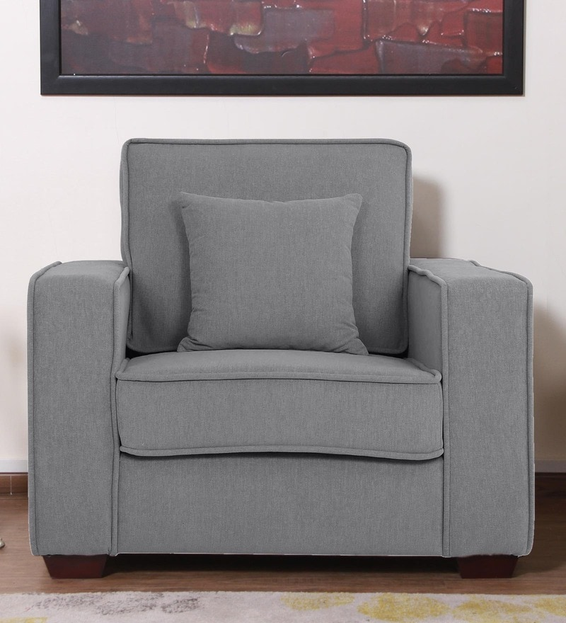 Hugo One Seater Sofa in Ash Grey Colour by CasaCraft