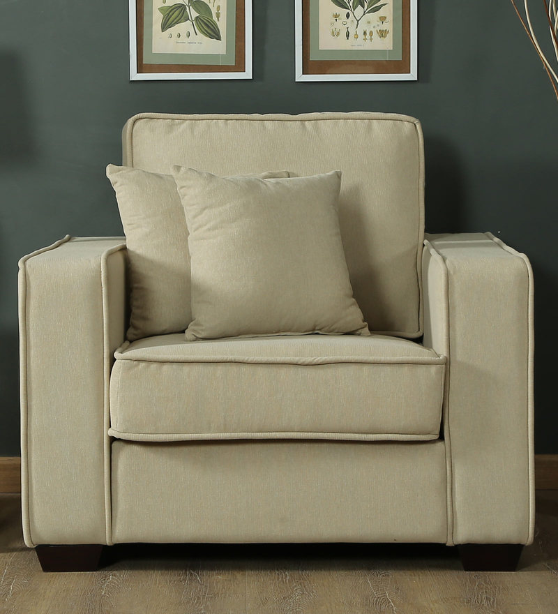 Hugo One Seater Sofa in Beige Colour by CasaCraft