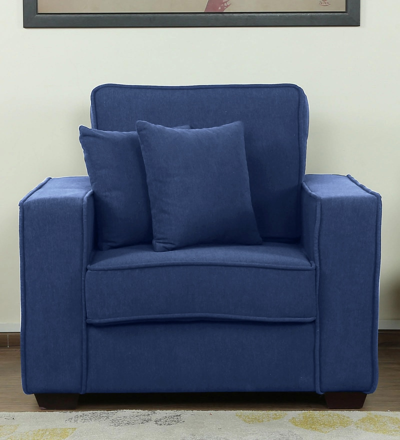Hugo One Seater Sofa in Denim Blue Colour by CasaCraft