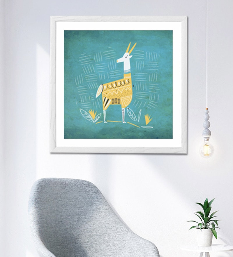 Sun Board 26 x 26 Inch Ethnic Deer Framed Art Print by Hulkut