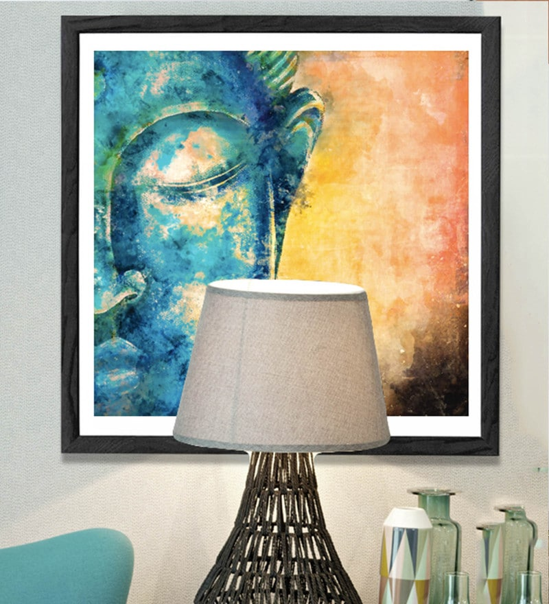 HULKUT  Sun Board 26 x 26 Inch The Glowing Buddha Framed Art Print