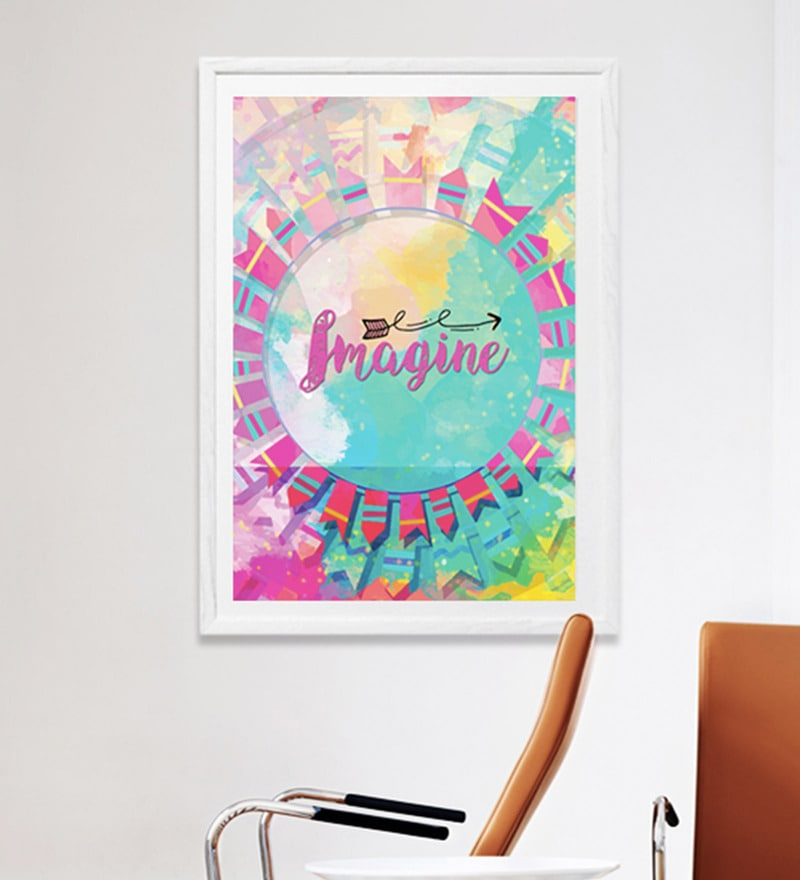 Sun Board 26 x 38 Inch Presents Imagine Framed Poster by Hulkut