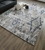 Blue & Beige Bamboo Silk & Cotton 118 x 78 Inch Hand Knotted Carpet by Hyde Park