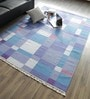 Blue Wool & Cotton Hand Woven Reversible Flat Weave Carpet by Hyde Park