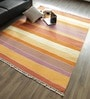 Orange Wool & Cotton Hand Woven Reversible Flat Weave Carpet by Hyde Park