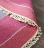 Pink Wool & Cotton Hand Woven Reversible Flat Weave Carpet by Hyde Park