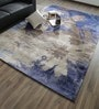 Taupe & Blue Bamboo Silk & Cotton 118 x 78 Inch Hand Knotted Carpet by Hyde Park