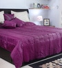 I Village Purple and Grey Poly Silk Queen Size Bed Cover - Set of 6