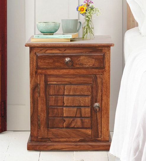 huge discount 5bfbe e794e Ian Solid Wood Bedside Table In Honey Finish By Trendsbee