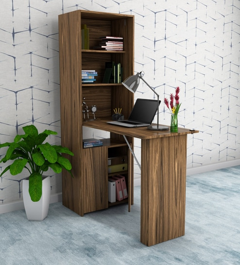 Buy Ibuki Foldable Study Desk With Multipurpose Cabinet In Walnut