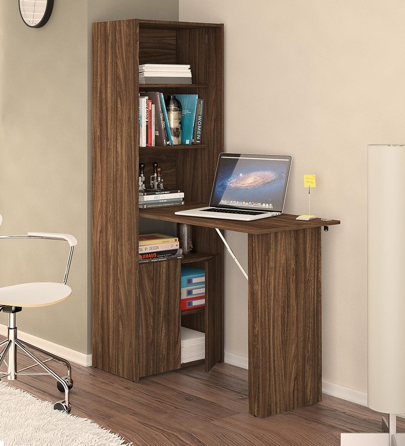 Ibuki Foldable Study Desk with Multipurpose Cabinet in Walnut Brown Finish by Mintwud