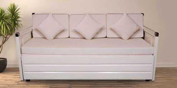 Icerag Metal Single Size Sofa Cum Bed With Hydraulic Storage In Matte Ivory By Furnline