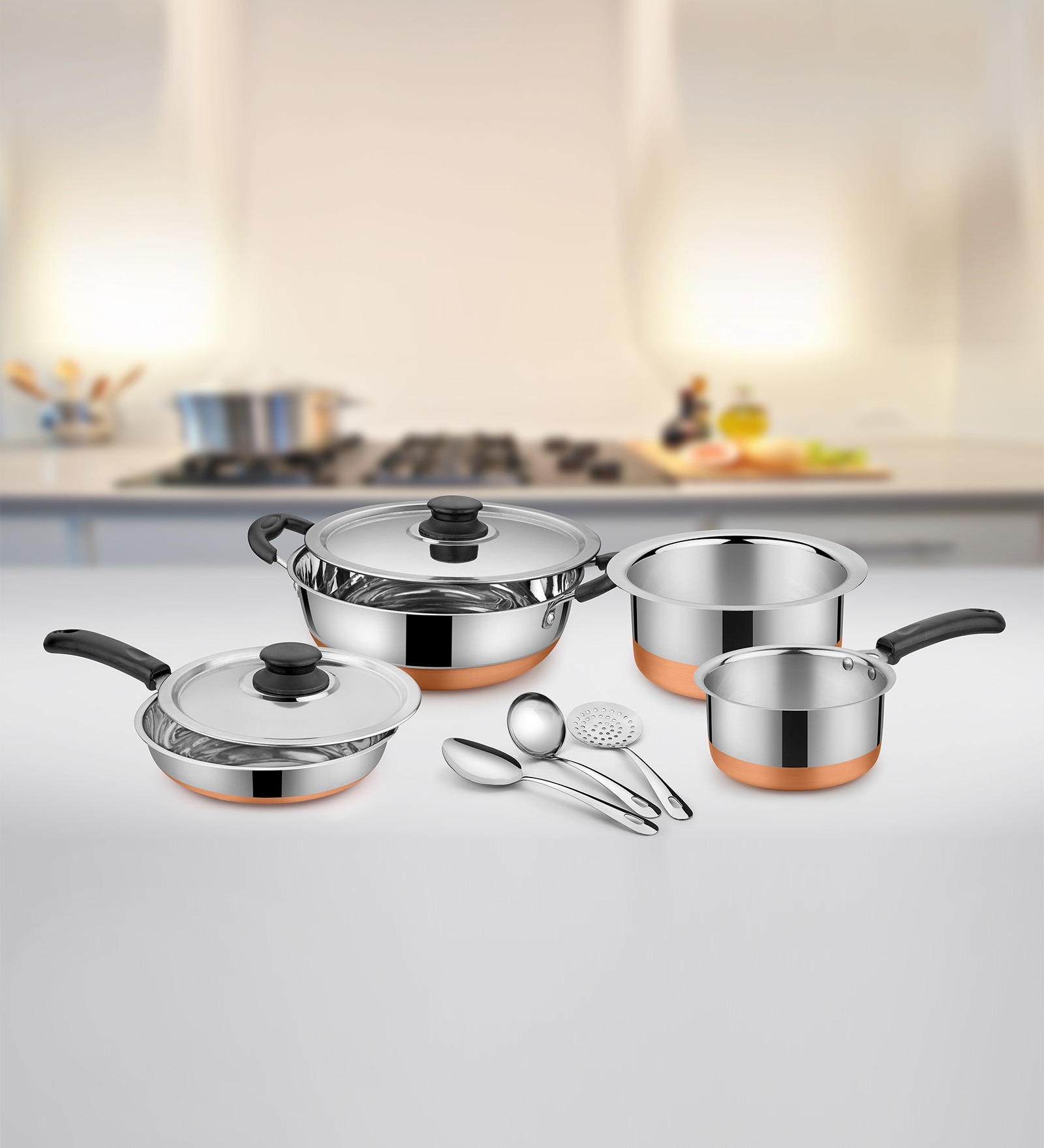 Aluminium Cookware Set - Set of 9 by Ideale