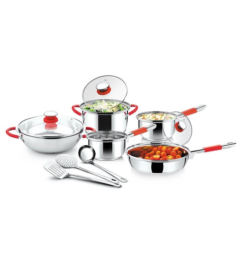 Upto 60% Off On Cookware By Pepperfry | Ideale Flatware Italian Passion Cookware Set - Set of 8 Pieces @ Rs.1,749