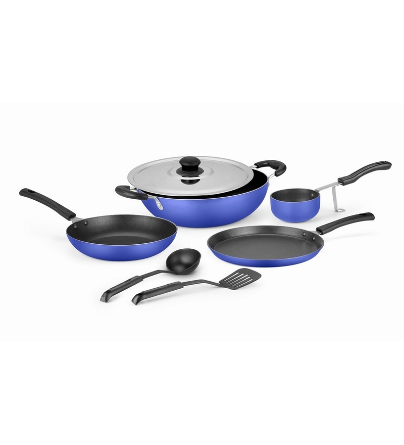 Ideale Blue Aluminium Non Stick Cookware Set of 7