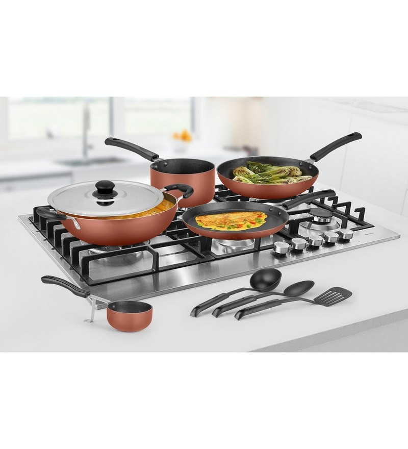 Ideale Burnt Orange Aluminium Non Stick Cookware Set of 9