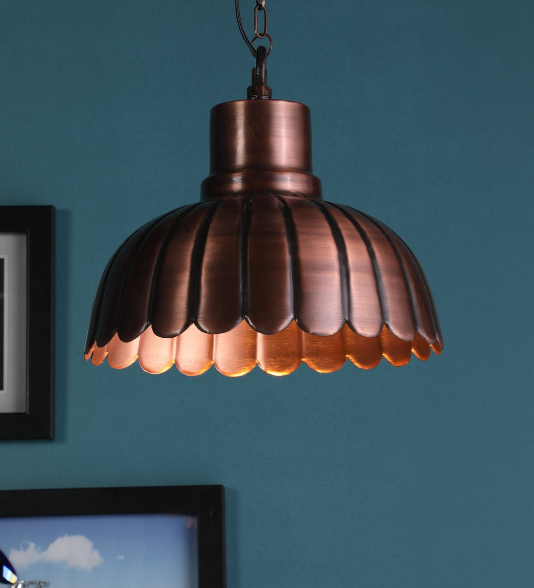 Buy Ikea Copper Metal Single Hanging Lights By Stello Online Mid Century Single Hanging Lights Ceiling Lights Lamps Lighting Pepperfry Product