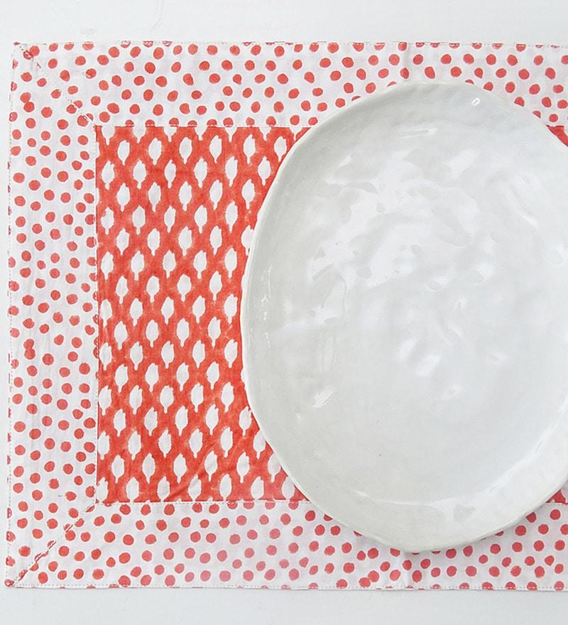 IkkaDukka Marnie Red Cotton Placemats - Set of 4