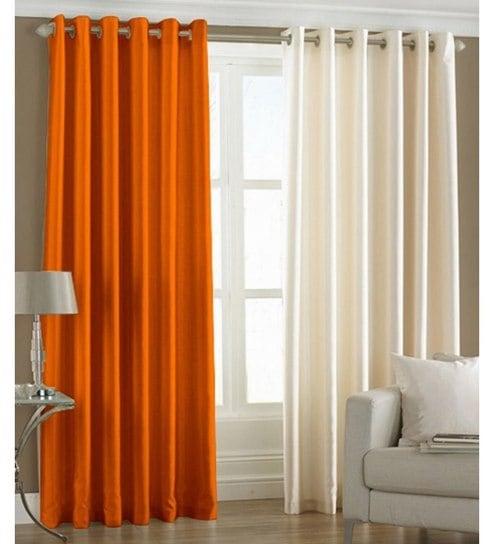 Iliv Plain Eyelet Orange Cream 9ft Door Curtain Set