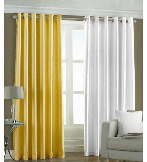 Iliv Plain Eyelet Yellow White 9ft Door Curtain Set