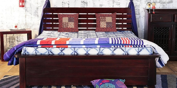 Buy Illinois Queen Bed With Storage In Passion Mahogany Finish By