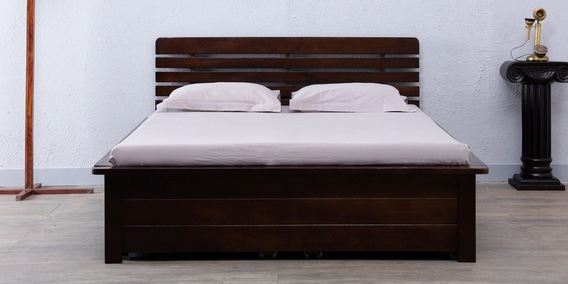 Illinois Queen Bed With Storage In Warm Chestnut Finish