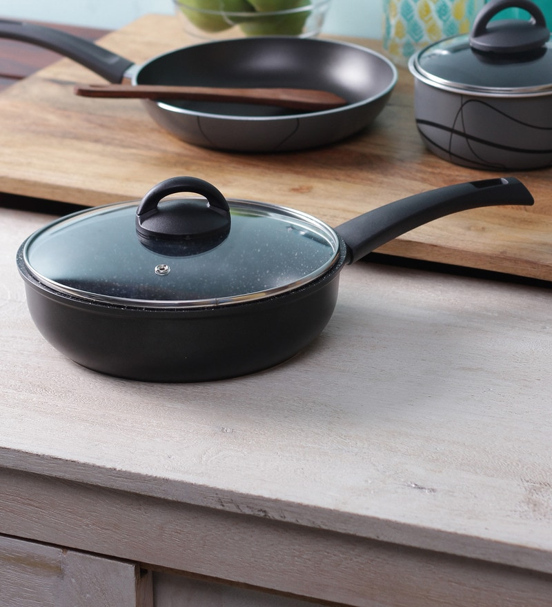 Stone Coated Non Stick Induction Friendly Deep Frying Pan with Lid - 24 Cm by Illa