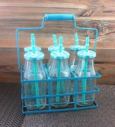 Importwala Glass & Metal 300 ML Country Bottles In Metal Stand With Lids & Straws - Set Of 6