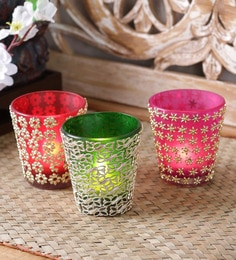 Importwala Multicolor Glass Votive Holder - Set Of 3