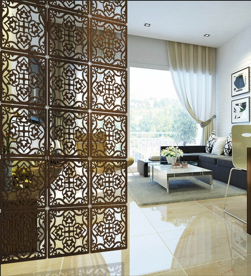 Buy Wenge Acrylic with Wooden Lamination Abstract Room Divider by