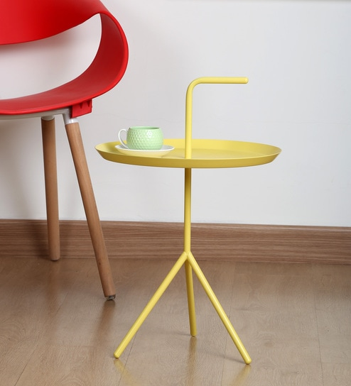 Imported Designer Handle Coffee Table In Yellow Colour Size M By Misuraa