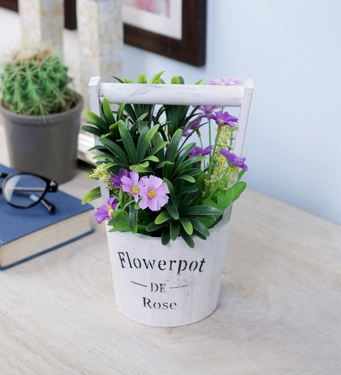 Pepperfry & Multicolour Polyester \u0026 Wood Vintage Rustic French Flower with Ceramic Pot by Importwala