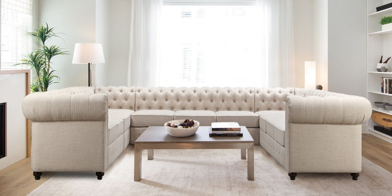 Buy Impressive Chesterfield U Shape Sectional Sofa In Beige Colour