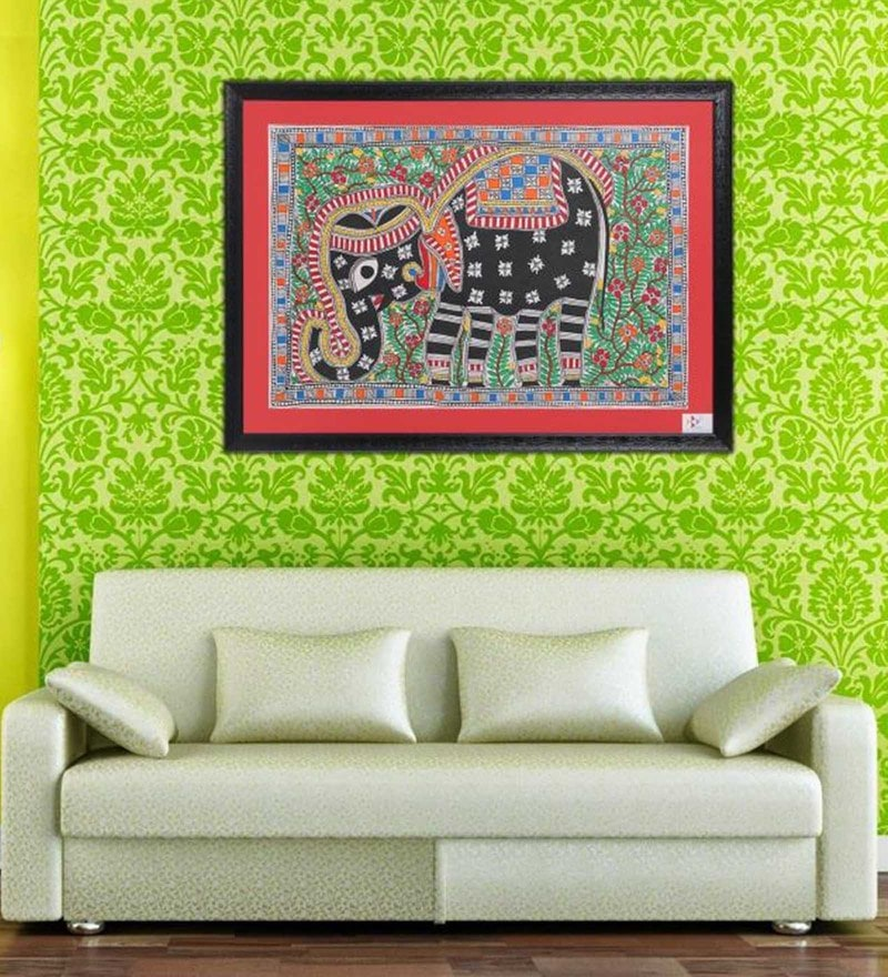 Handmade Paper 19 x 0 x 25 Inch Art of Elephant in Indian Princely Style Framed Painting by iMithila